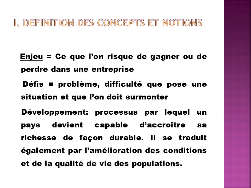 I. DEFINITION DES CONCEPTS ET NOTIONS