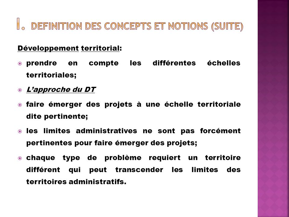 I. DEFINITION DES CONCEPTS ET NOTIONS (suite)