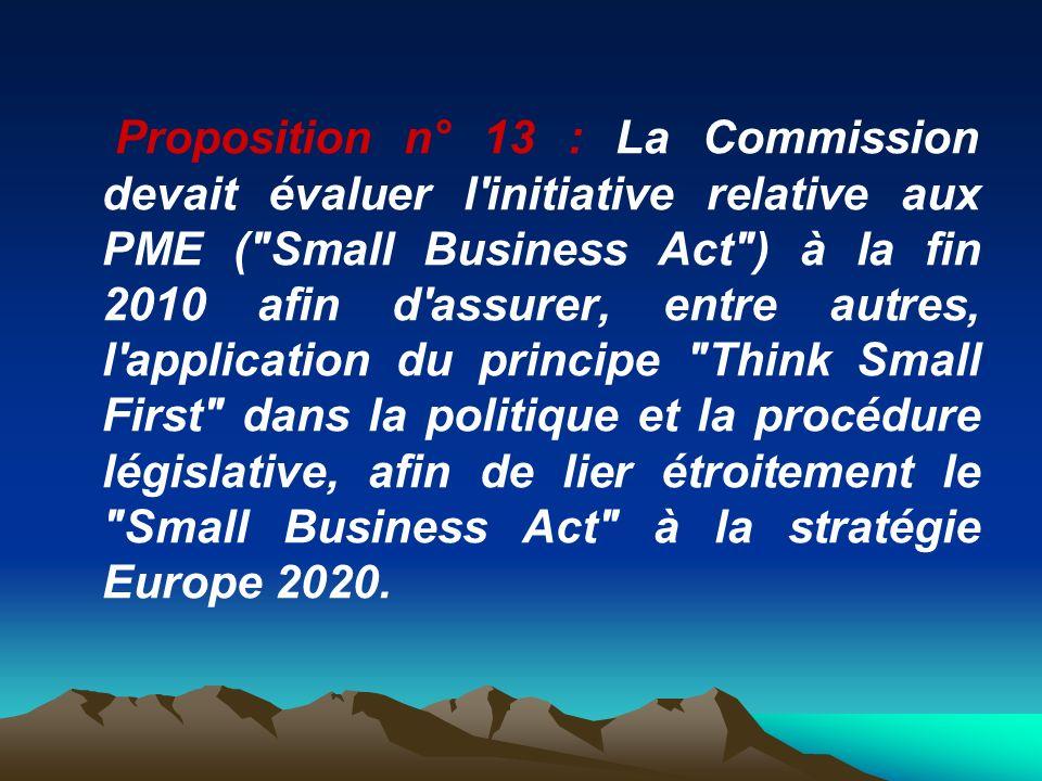Proposition n° 13 : La Commission devait évaluer l initiative relative aux PME ( Small Business Act ) à la fin 2010 afin d assurer, entre autres, l application du principe Think Small First dans la politique et la procédure législative, afin de lier étroitement le Small Business Act à la stratégie Europe 2020.