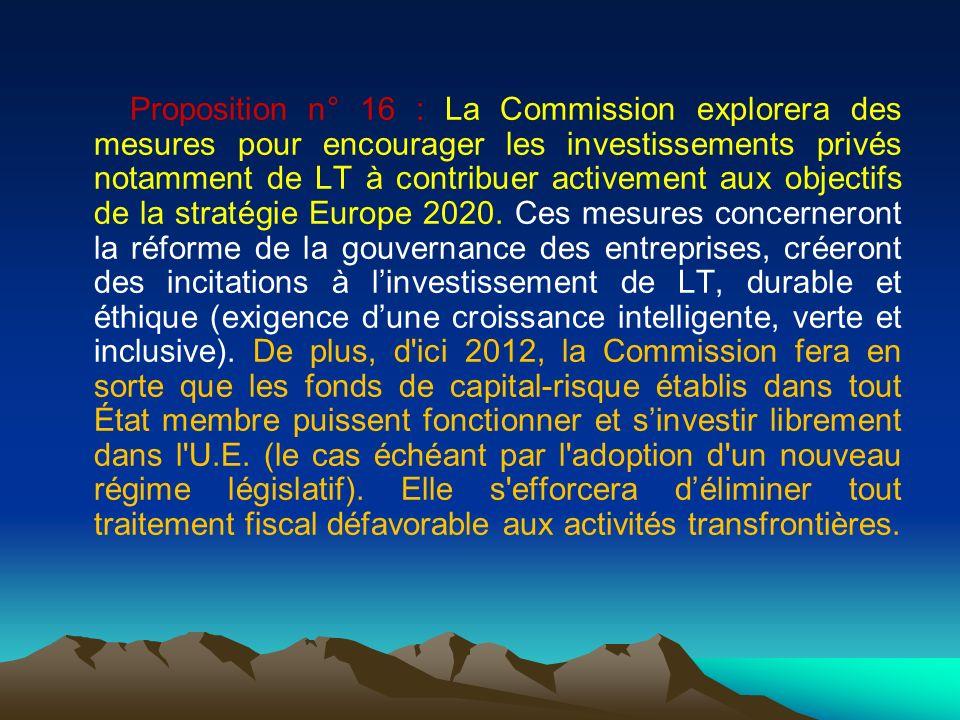 Proposition n° 16 : La Commission explorera des mesures pour encourager les investissements privés notamment de LT à contribuer activement aux objectifs de la stratégie Europe 2020.