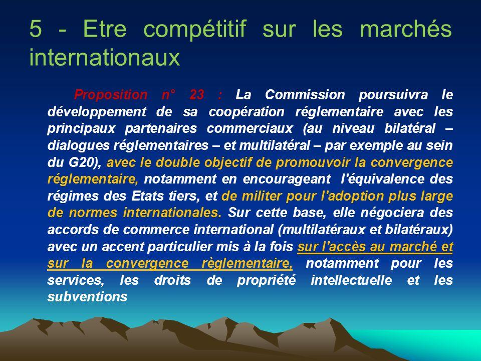 5 - Etre compétitif sur les marchés internationaux