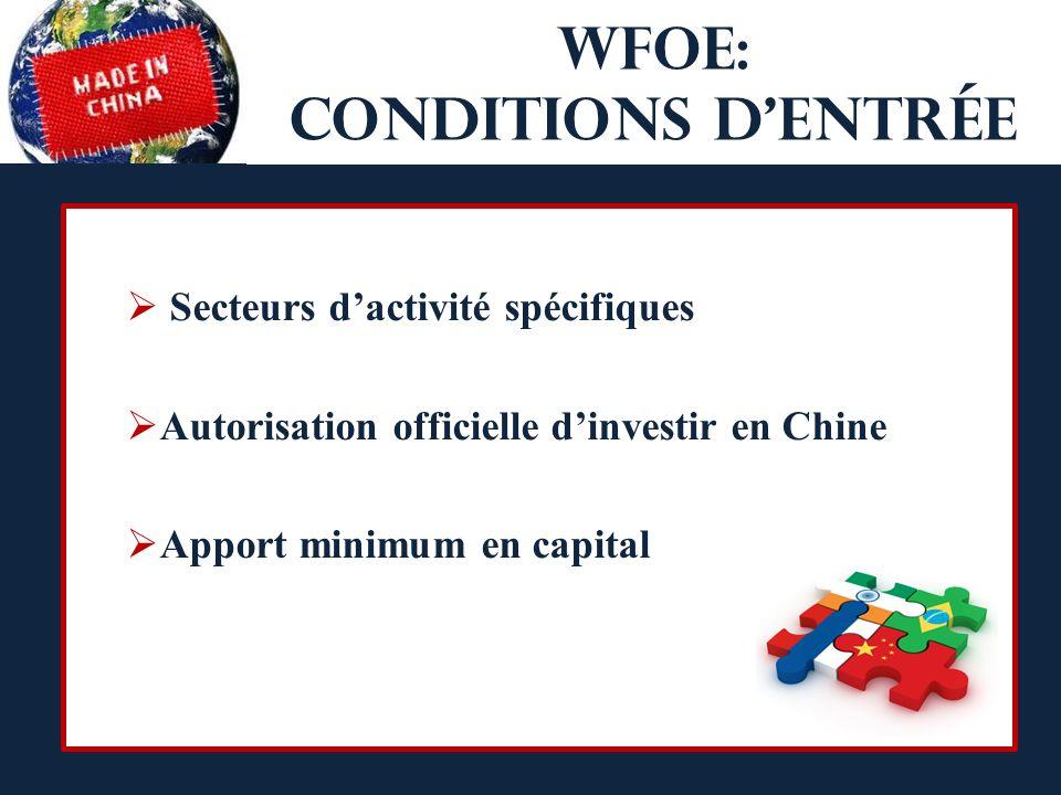 WFOE: conditions d'entrée