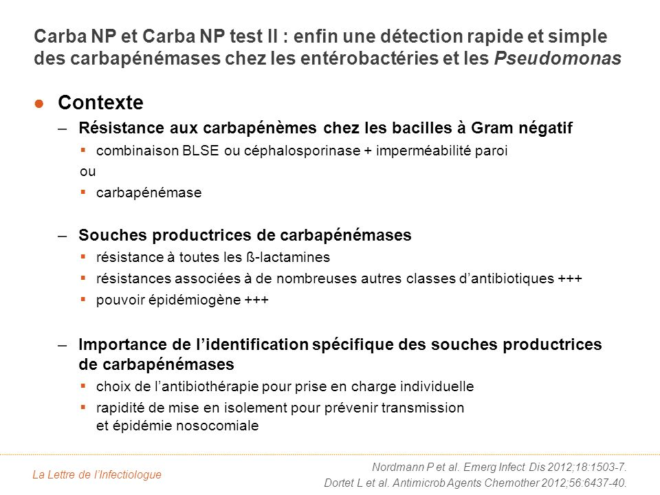 RationnelIdentification actuelle des souches productrices de carbapénémases. test de Hodge.