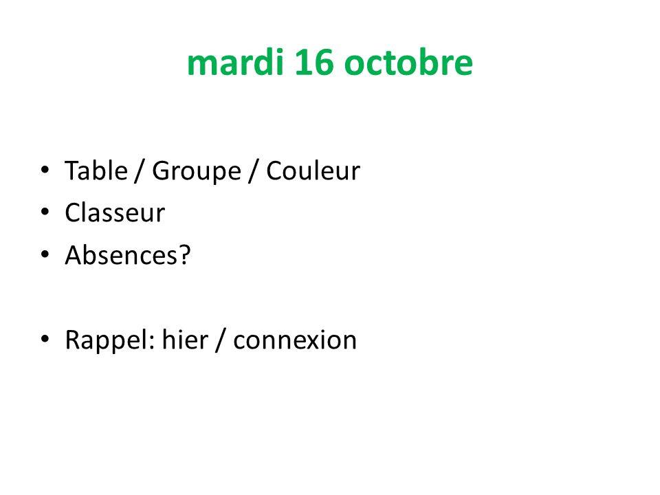 mardi 16 octobre Table / Groupe / Couleur Classeur Absences