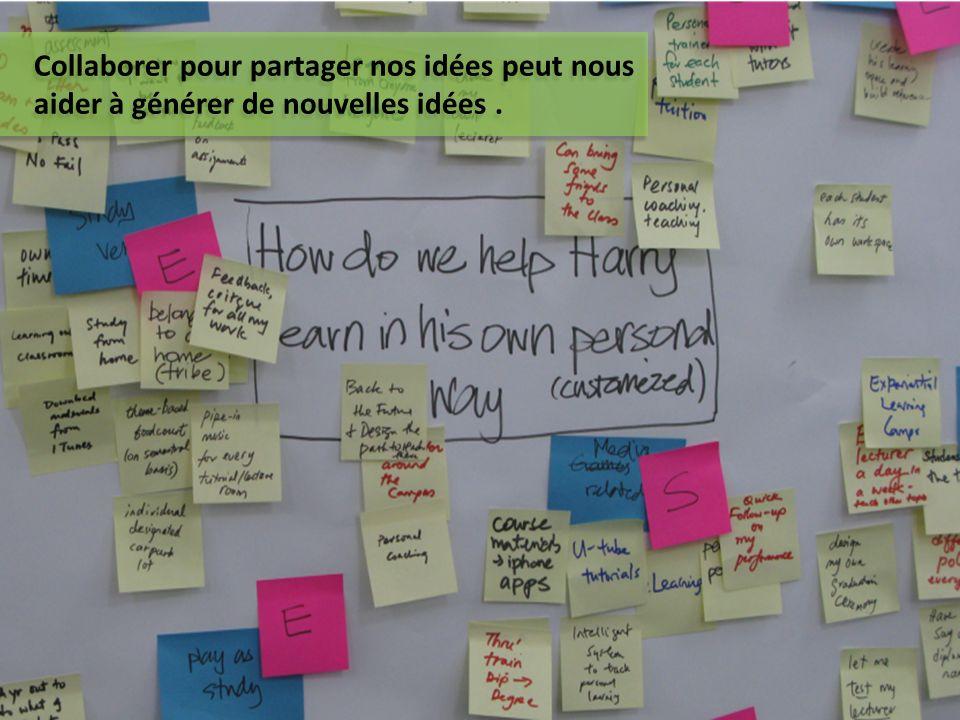 Collaborer pour partager nos idées peut nous aider à générer de nouvelles idées .