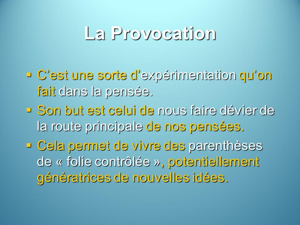 La Provocation C'est une sorte d'expérimentation qu'on fait dans la pensée.