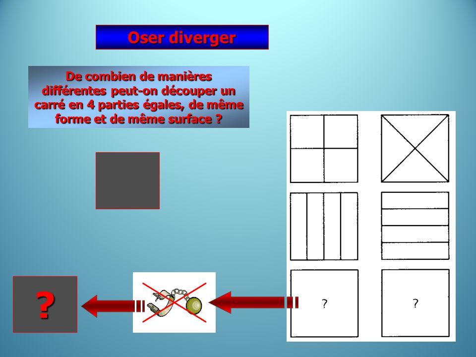 Oser diverger De combien de manières différentes peut-on découper un carré en 4 parties égales, de même forme et de même surface