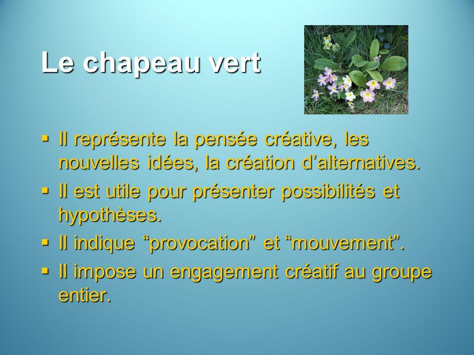 Le chapeau vert Il représente la pensée créative, les nouvelles idées, la création d'alternatives.