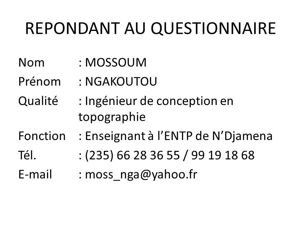 REPONDANT AU QUESTIONNAIRE
