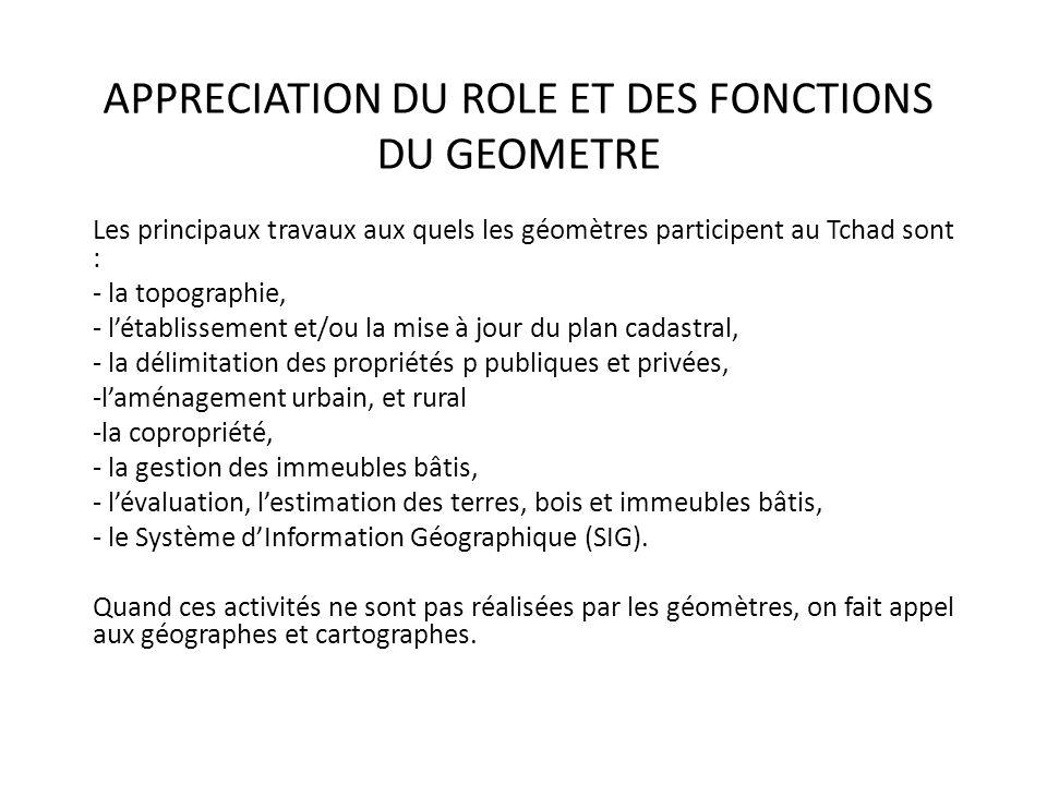 APPRECIATION DU ROLE ET DES FONCTIONS DU GEOMETRE