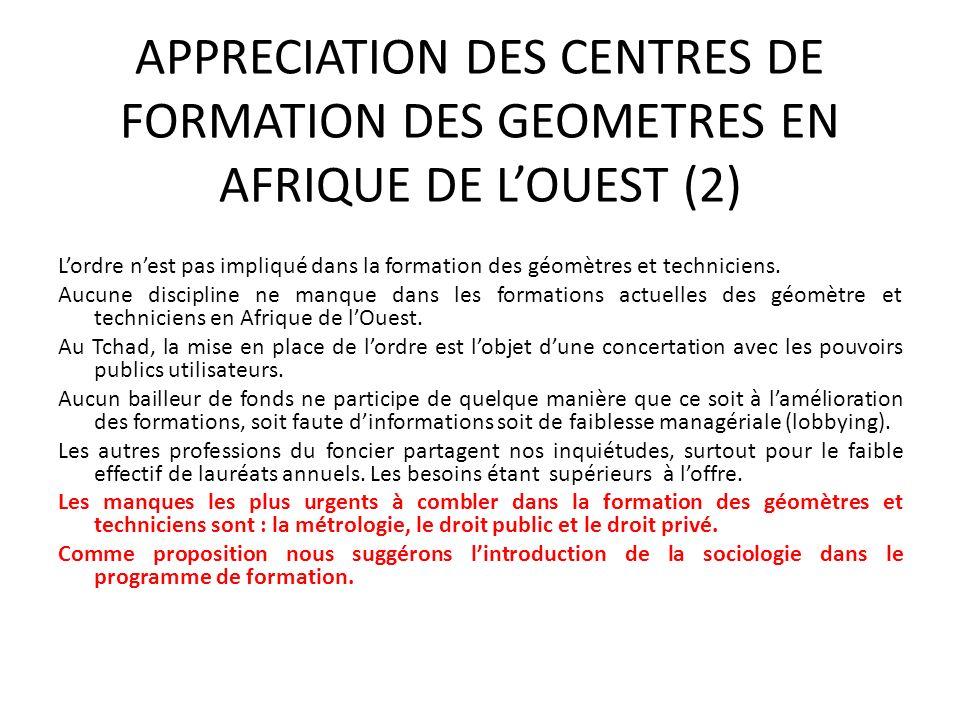 APPRECIATION DES CENTRES DE FORMATION DES GEOMETRES EN AFRIQUE DE L'OUEST (2)