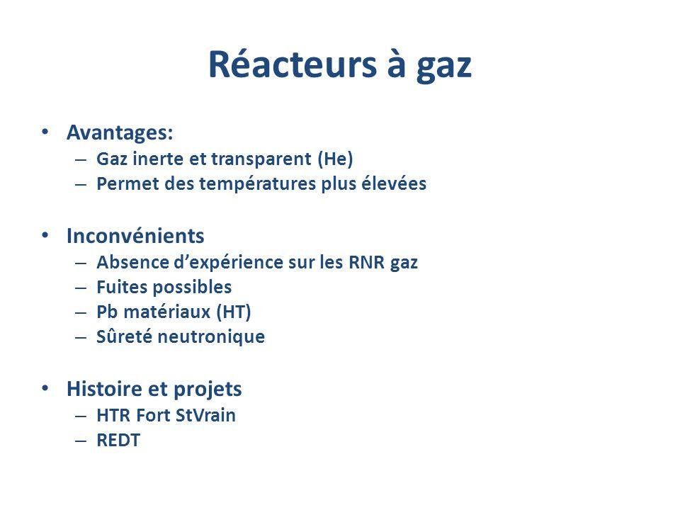 Réacteurs à gaz Avantages: Inconvénients Histoire et projets