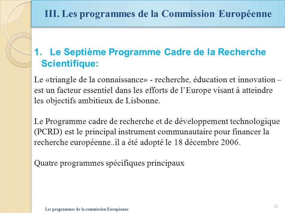 III. Les programmes de la Commission Européenne