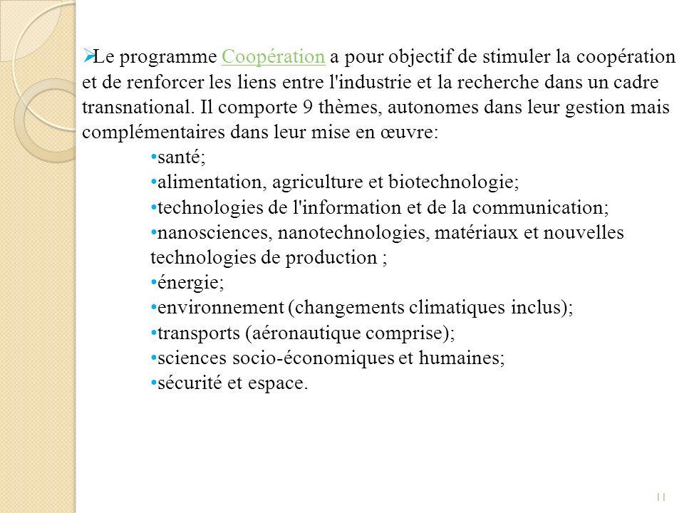 Le programme Coopération a pour objectif de stimuler la coopération et de renforcer les liens entre l industrie et la recherche dans un cadre transnational. Il comporte 9 thèmes, autonomes dans leur gestion mais complémentaires dans leur mise en œuvre:
