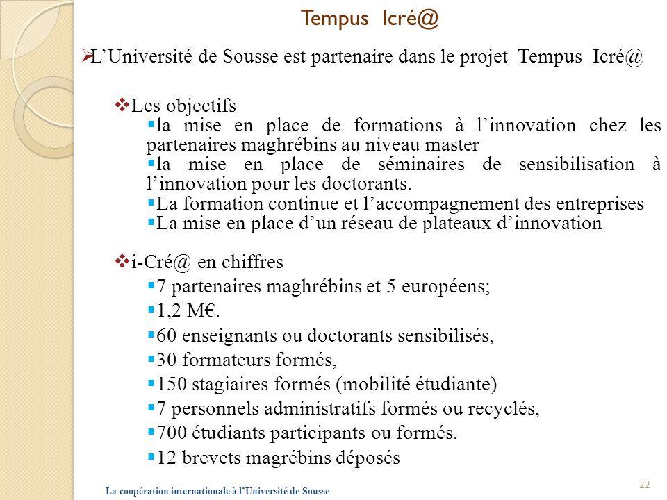 Tempus Icré@ L'Université de Sousse est partenaire dans le projet Tempus Icré@ Les objectifs.