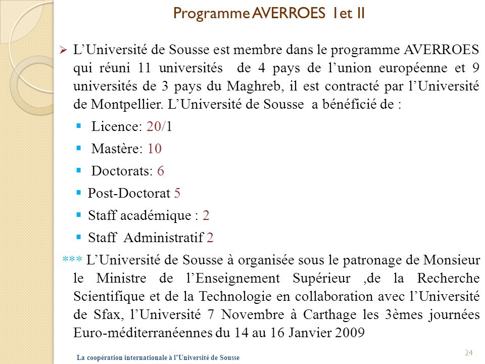Programme AVERROES 1et II