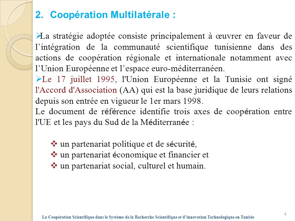 2. Coopération Multilatérale :
