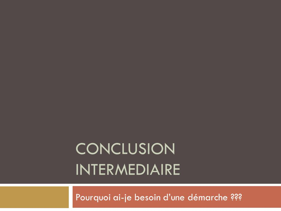 Conclusion Intermediaire