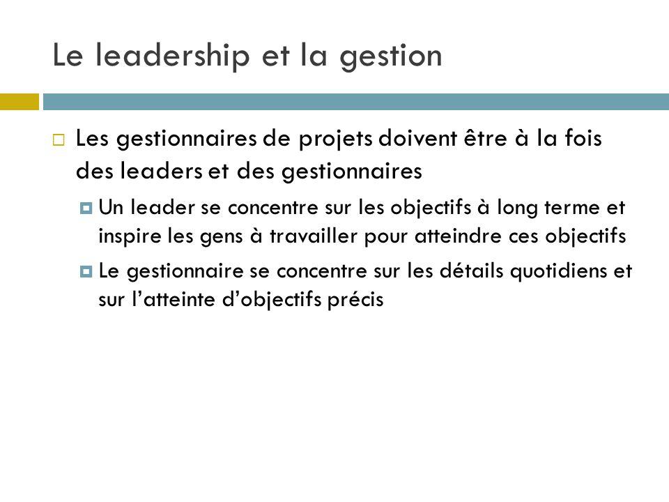 Le leadership et la gestion