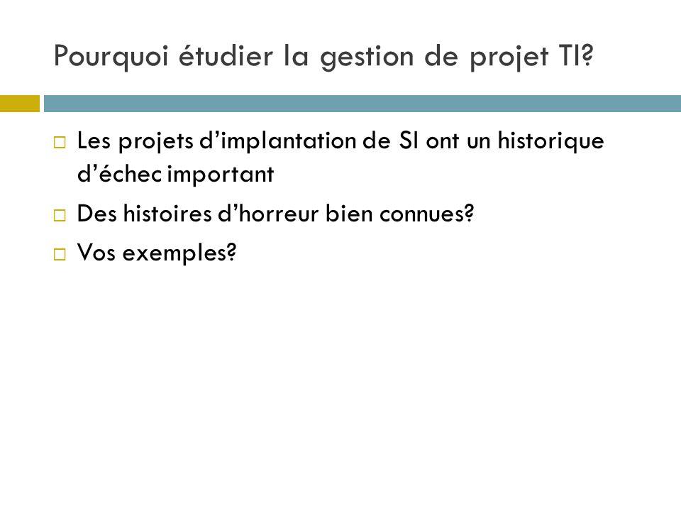 Pourquoi étudier la gestion de projet TI