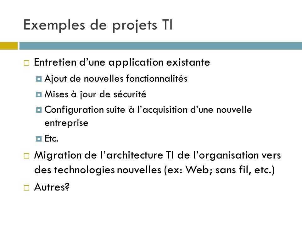 Exemples de projets TI Entretien d'une application existante