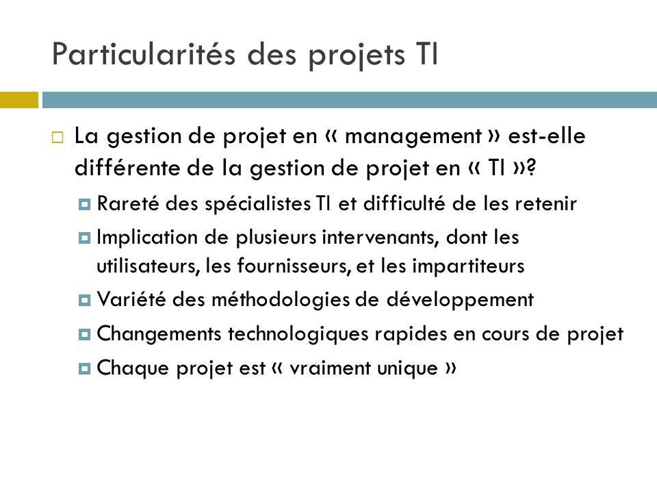 Particularités des projets TI