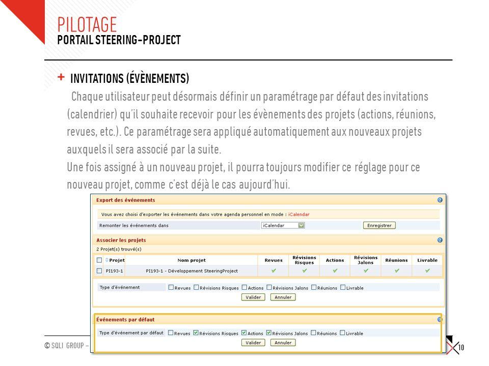 Pilotage Portail Steering-Project Invitations (évènements)