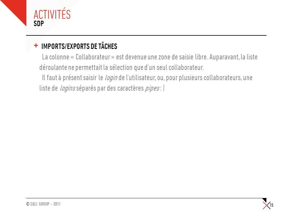 Activités SDP Imports/Exports de tâches