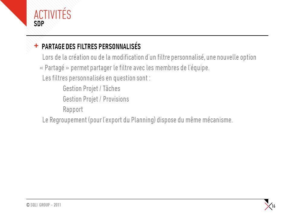 Activités SDP Partage des filtres personnalisés