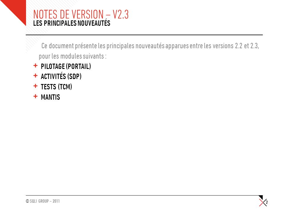 Notes de version – v2.3 Les principales nouveautés