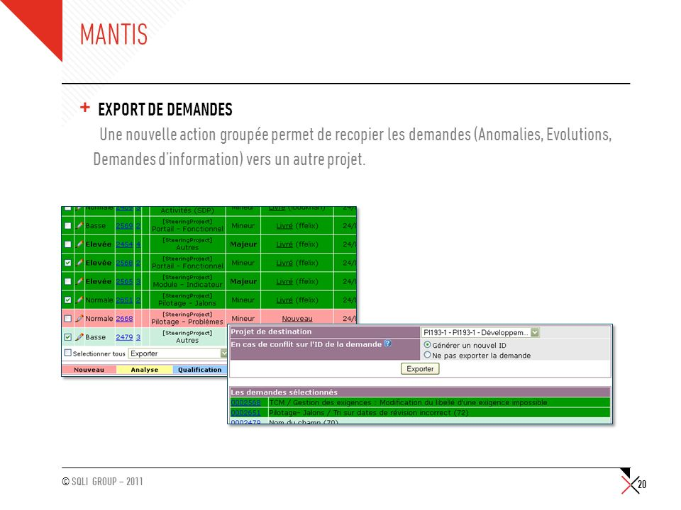 Mantis Export de demandes