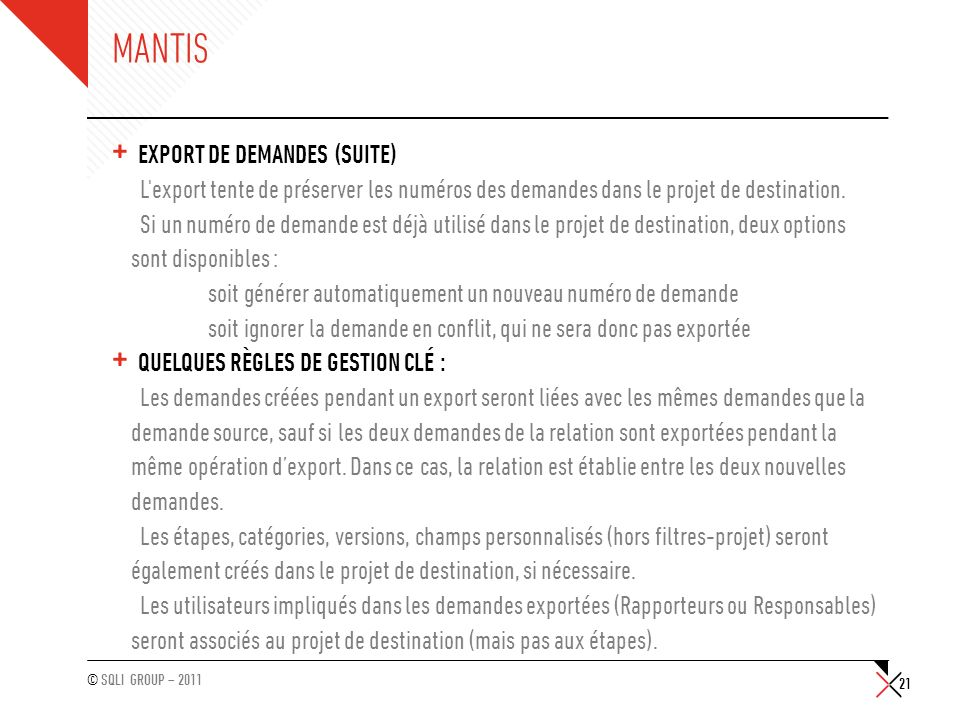 Mantis Export de demandes (suite)