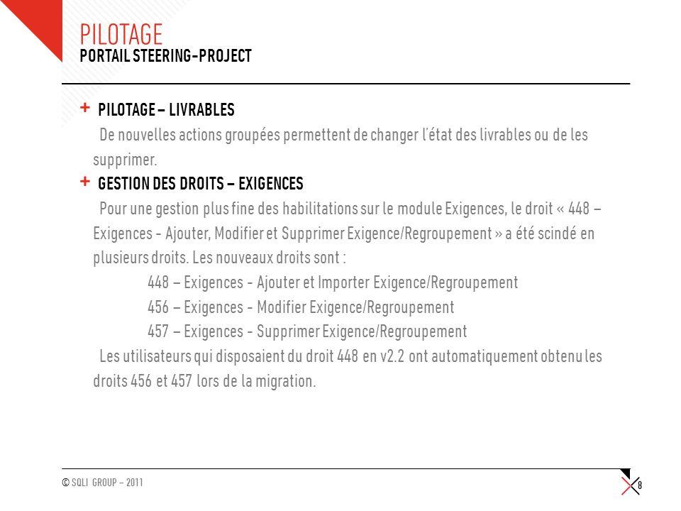 Pilotage Portail Steering-Project Pilotage – Livrables