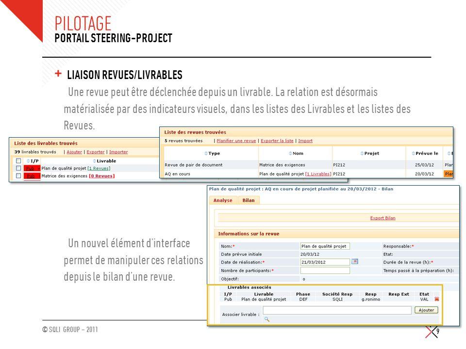 Pilotage Portail Steering-Project Liaison Revues/Livrables