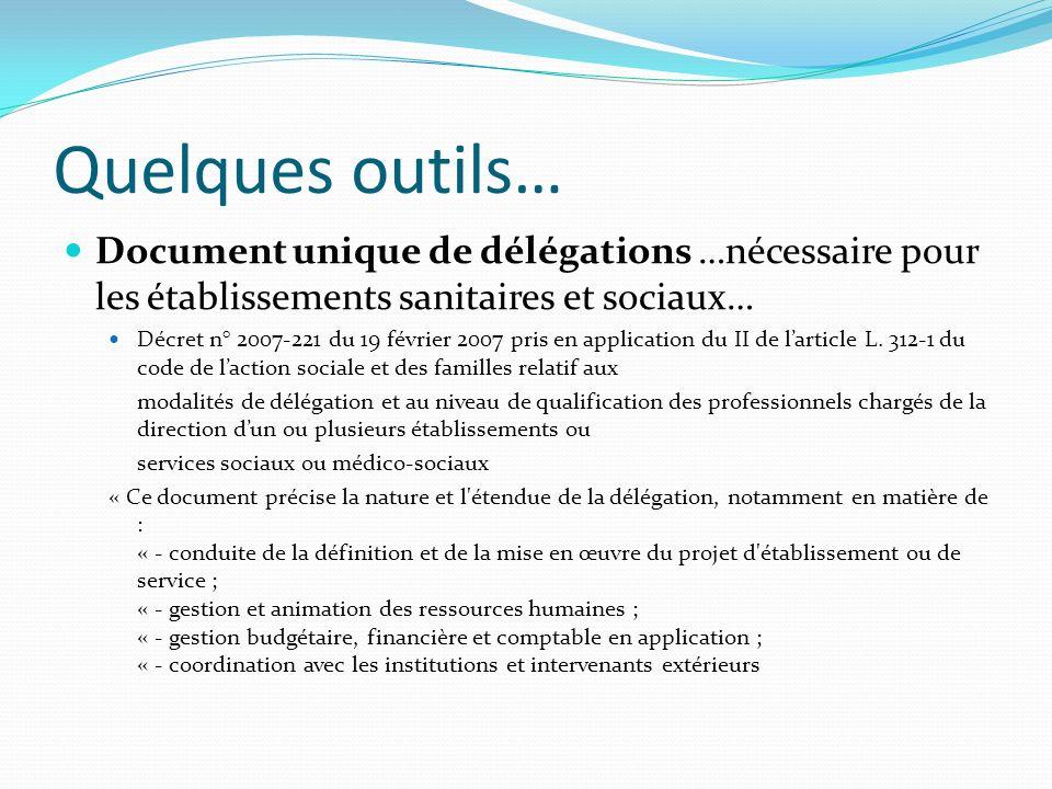 Quelques outils… Document unique de délégations …nécessaire pour les établissements sanitaires et sociaux…