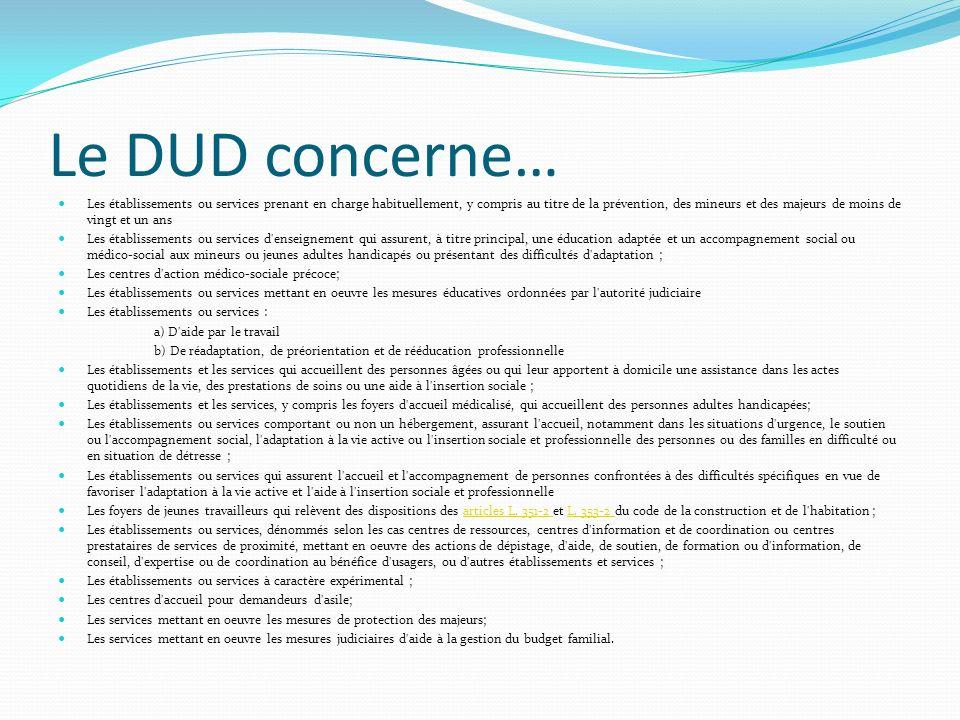 Le DUD concerne…