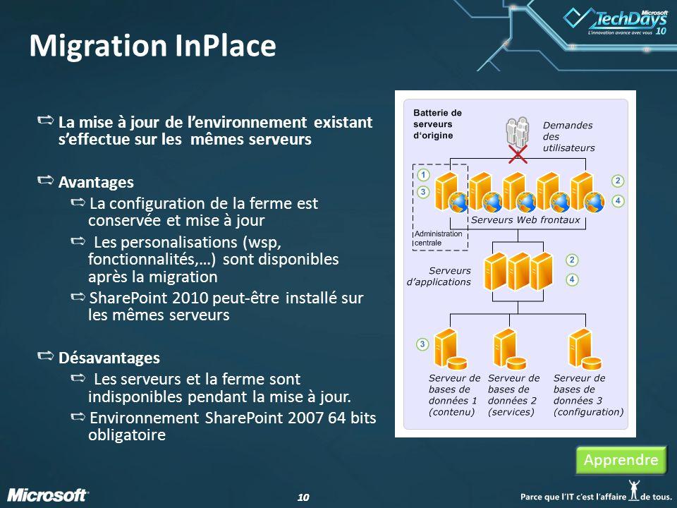 Migration InPlace La mise à jour de l'environnement existant s'effectue sur les mêmes serveurs. Avantages.