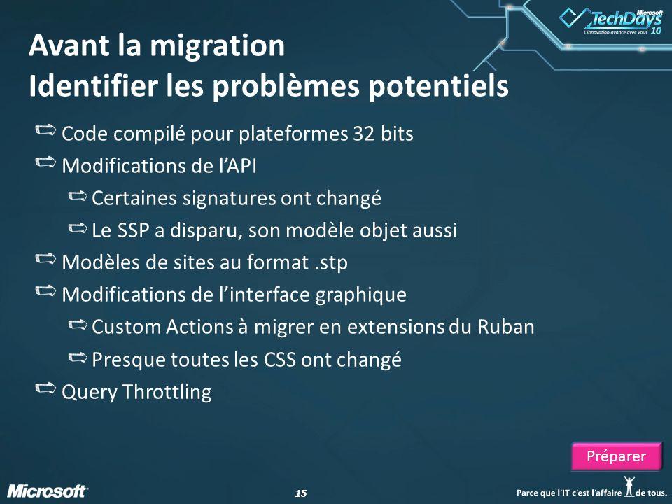 Avant la migration Identifier les problèmes potentiels