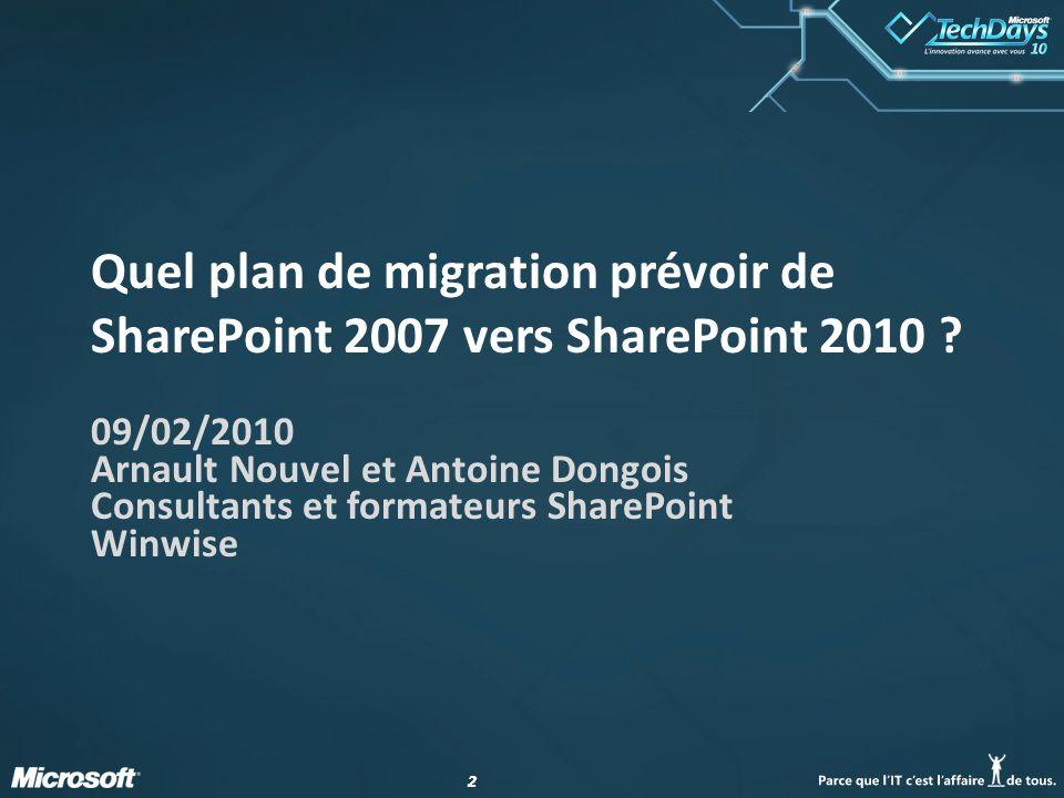 Quel plan de migration prévoir de SharePoint 2007 vers SharePoint 2010