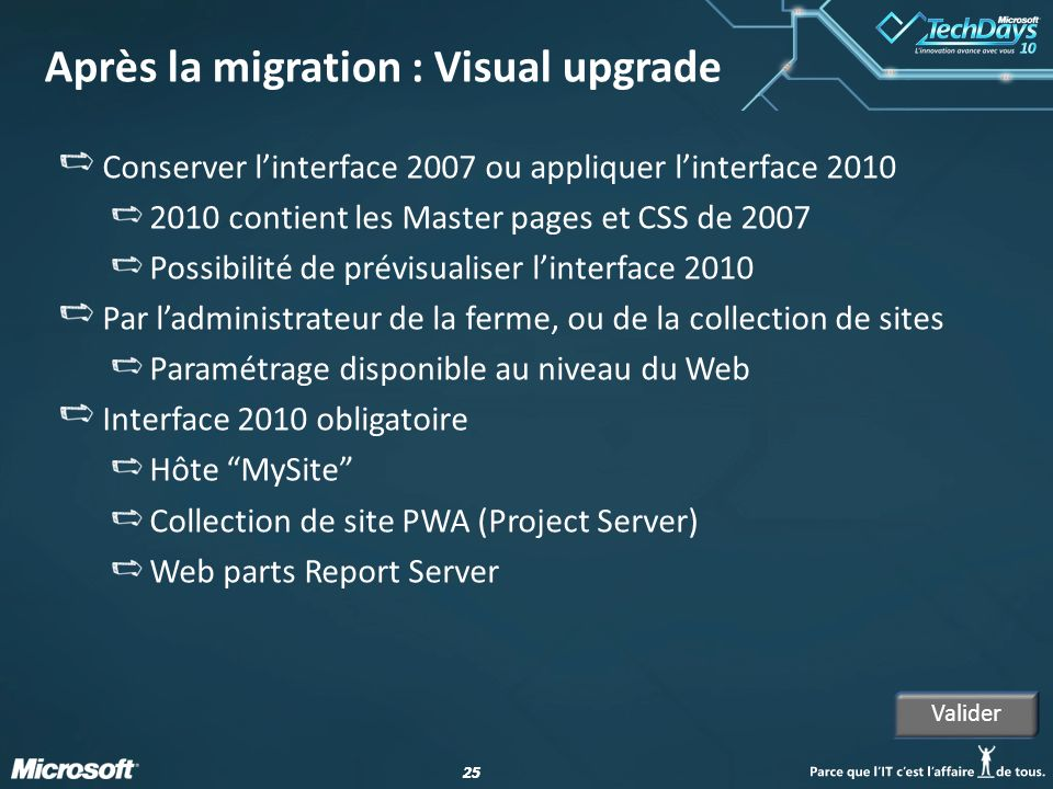 Après la migration : Visual upgrade