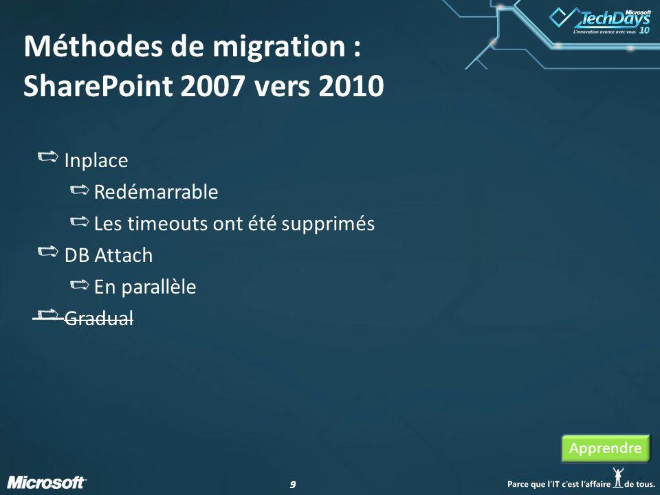 Méthodes de migration : SharePoint 2007 vers 2010