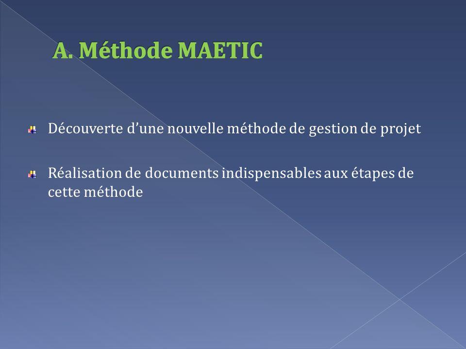 A. Méthode MAETIC Découverte d'une nouvelle méthode de gestion de projet.