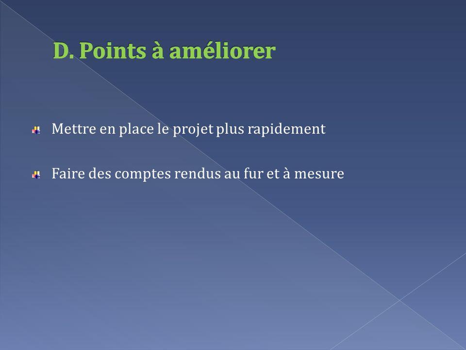 D. Points à améliorer Mettre en place le projet plus rapidement
