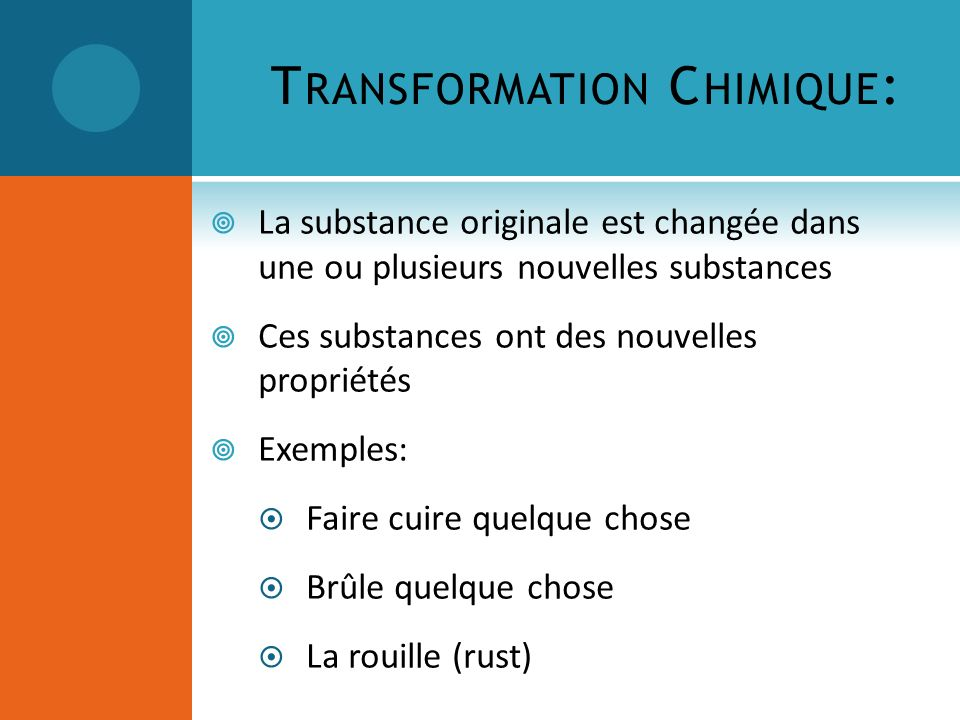 Transformation Chimique: