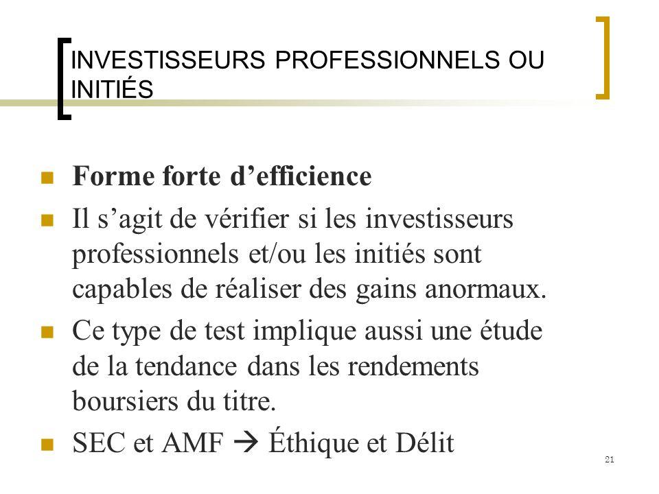 INVESTISSEURS PROFESSIONNELS OU INITIÉS