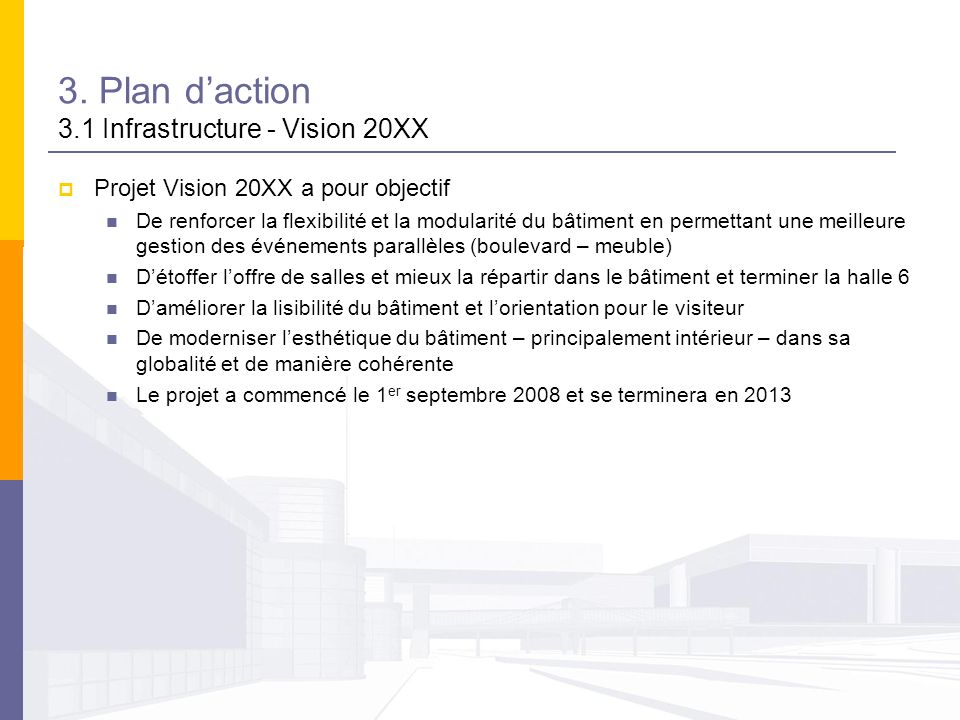 3. Plan d'action 3.1 Infrastructure - Vision 20XX