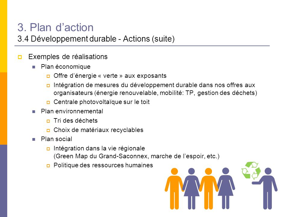 3. Plan d'action 3.4 Développement durable - Actions (suite)