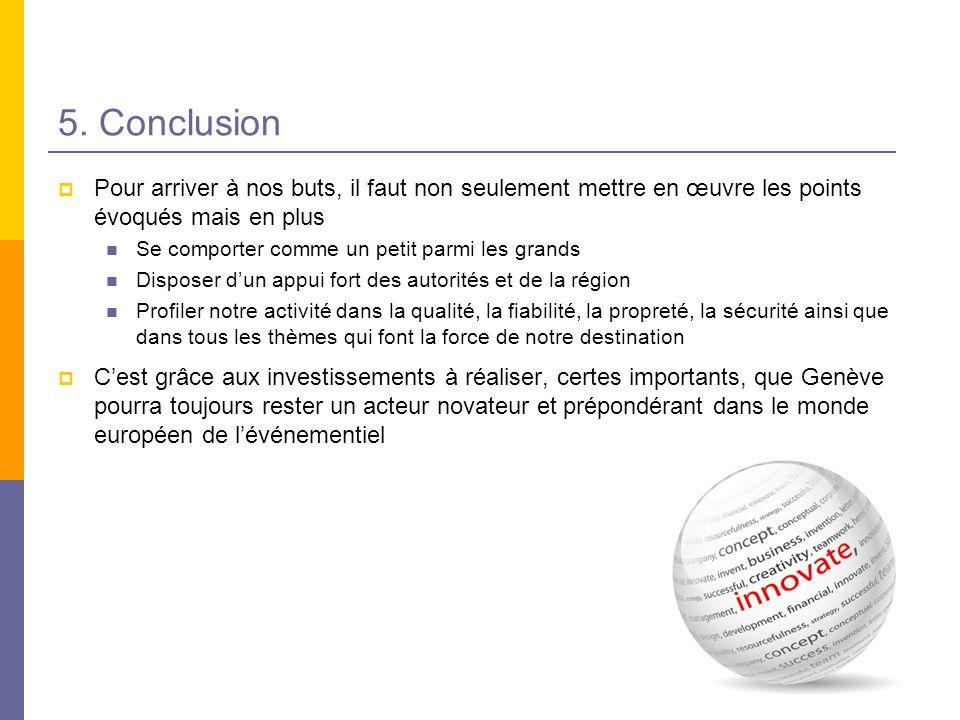 5. Conclusion Pour arriver à nos buts, il faut non seulement mettre en œuvre les points évoqués mais en plus.