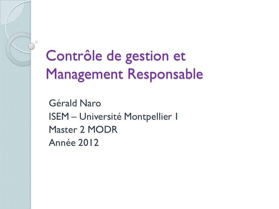 Contrôle de gestion et Management Responsable