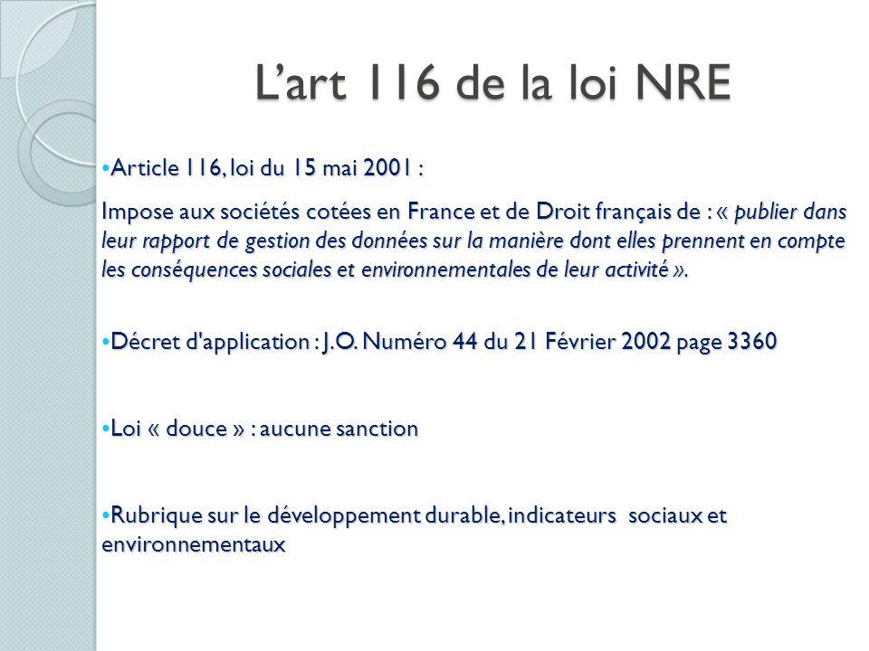 L'art 116 de la loi NRE Article 116, loi du 15 mai 2001 :